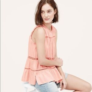 Loft Boho Lace Tiered Oversized Yoke Tank Peach MP